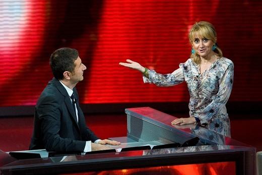 06 03 2011, Milan  ´Che tempo che fa´ telecast RAI3  Fabio Fazio and Luciana Littizzetto : Stock Photo