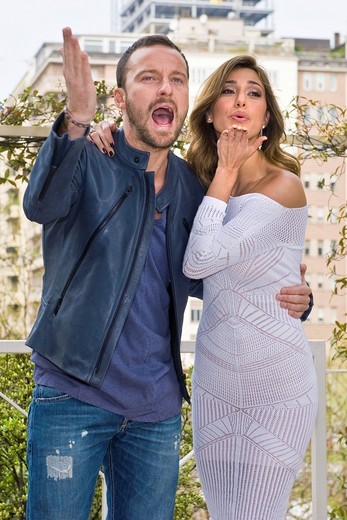 04 04 2011, Milan  Photocall ´Ciak si gira   ´   Belen Rodriguez and Francesco Facchinetti : Stock Photo
