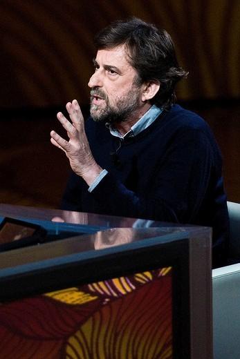 17 04 2011, Milan  ´Che tempo che fa´ telecast RAI 3  Nanni Moretti : Stock Photo