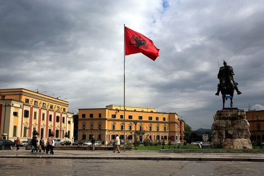 Stock Photo: 1566-770558 Monument to Skanderbeg, Skanderbeg square, Tirana Tirane, Albania