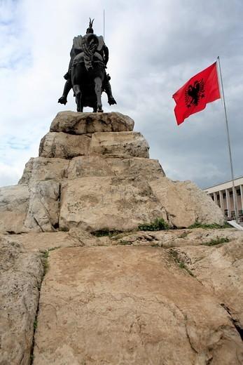 Monument to Skanderbeg, Skanderbeg square, Tirana Tirane, Albania : Stock Photo