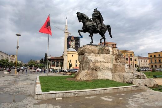 Stock Photo: 1566-770561 Monument to Skanderbeg, Skanderbeg square, Tirana Tirane, Albania