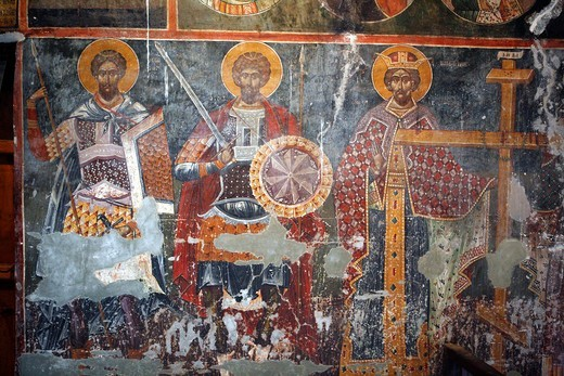 Frescoes 1578, St  Mary of Blachernes church, Berat, Albania : Stock Photo