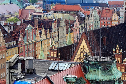 Stock Photo: 1566-770660 View of city from Church of St  Mary Magdalene, Wroclaw, Lower Silesia, Poland