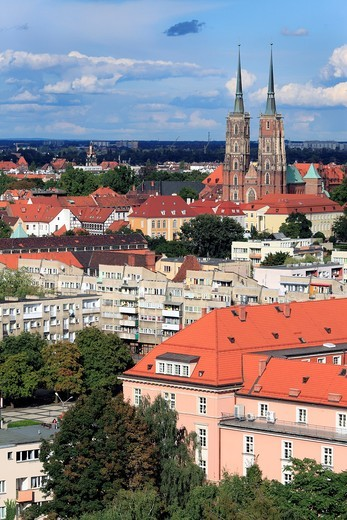 View of city from Church of St  Mary Magdalene, Wroclaw, Lower Silesia, Poland : Stock Photo