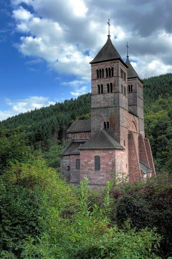 Stock Photo: 1566-770955 Romanesque church of St  Leger, Murbach Abbey, Haut-Rhin department, Alsace, France