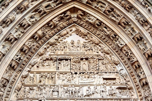 Collégiale Saint-Thiébaut Saint-Theobald collegiate church, Thann, Haut-Rhin department, Alsace, France : Stock Photo