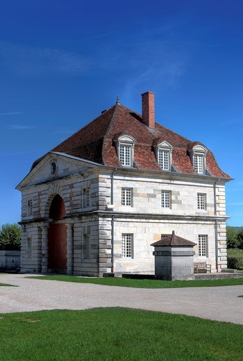 Saline Royale Royal Saltworks, architect Claude Nicolas Ledoux 1770s, Arc et Senans, Franche Comte, France : Stock Photo