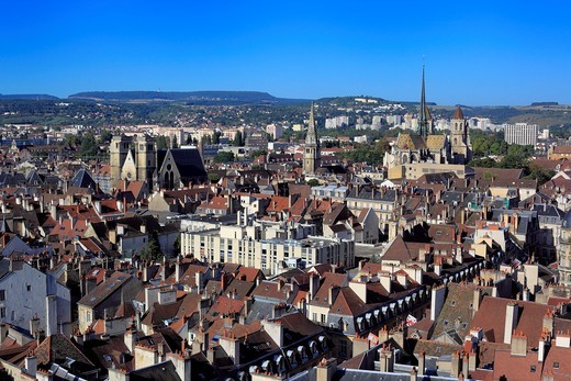 View of city from Philippe le Bon Tower, Dijon, Côte-d´Or departement, Burgundy, France : Stock Photo