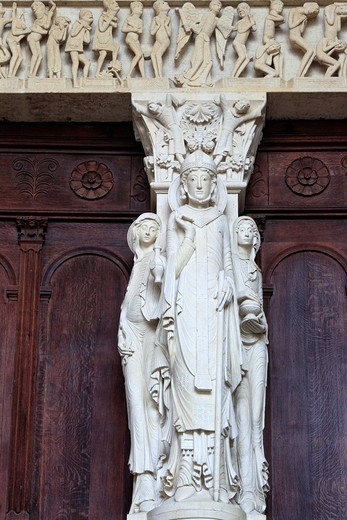 Stock Photo: 1566-771057 Portal of Autun Cathedral, Autun, Saone-et-Loire department, Burgundy, France