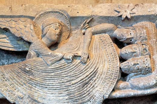 The sleeping magi, capital column 12th century, Autun Cathedral, Autun, Saone-et-Loire department, Burgundy, France : Stock Photo