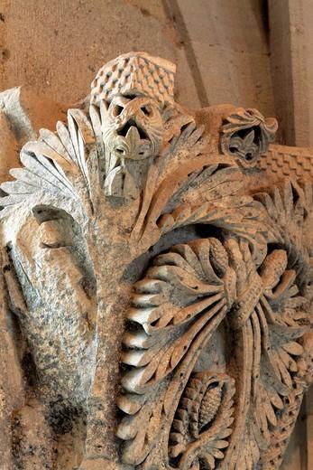 Capital column, Autun Cathedral, Autun, Saone-et-Loire department, Burgundy, France : Stock Photo