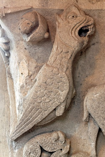 Basilisk, capital column, Autun Cathedral, Autun, Saone-et-Loire department, Burgundy, France : Stock Photo