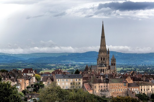 Autun Cathedral, Autun, Saone-et-Loire department, Burgundy, France : Stock Photo