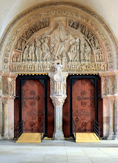 Portal in Church Sainte Marie Madeleine Basilica of St  Magdalene, Vezelay, Yonne department, Burgundy, France : Stock Photo