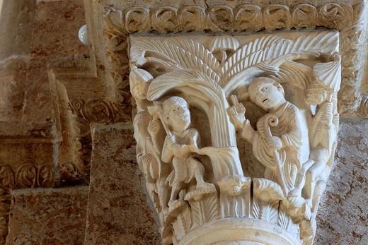 Stock Photo: 1566-771115 Capital column, church Sainte Marie Madeleine Basilica of St  Magdalene, Vezelay, Yonne department, Burgundy, France