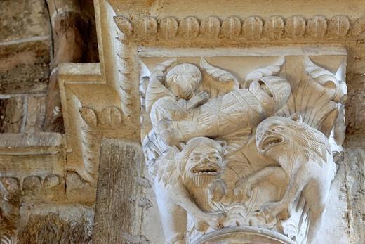 Capital column, church Sainte Marie Madeleine Basilica of St  Magdalene, Vezelay, Yonne department, Burgundy, France : Stock Photo