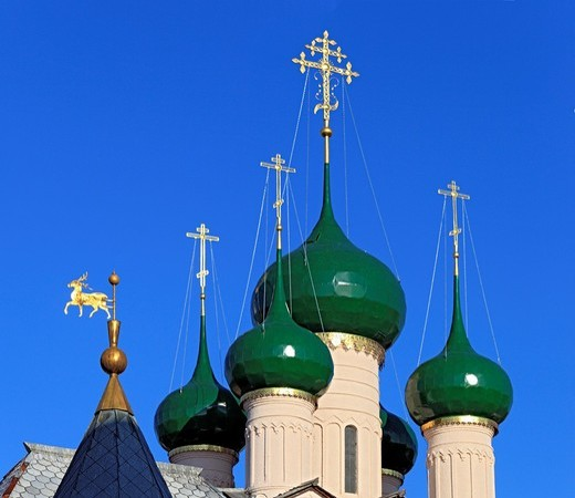 Stock Photo: 1566-771190 Domes and symbol of Rostov, Church of St  John the Theologian 1683, Rostov, Yaroslavl region, Russia