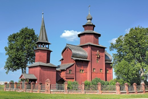 Wooden church of St  John the Theologian on the river Isnya 1689, Rostov, Yaroslavl region, Russia : Stock Photo