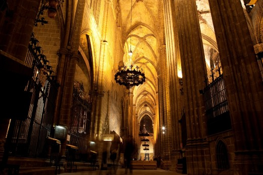 Interior of the Cathedral Church of Barcelona, Catalonia, Spain : Stock Photo