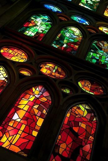 Stained Glass Windows in the Sagrada Familia Church in Barcelona, Catalonia, Spain : Stock Photo
