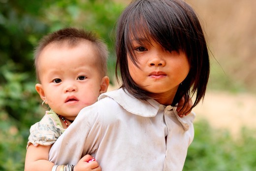 Little girl and brother in Cat Cat village Sapa, Lao Cai province, Vietnam. : Stock Photo