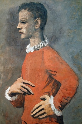 Stock Photo: 1566-772763 Detail: Saltimbanque in Profile, 1905, by Pablo Picasso, Essence on paper board 31 1/4 x 23 1/2 in  79 4 x 59 7 cm, Metropolitan Museum of Art, New York City