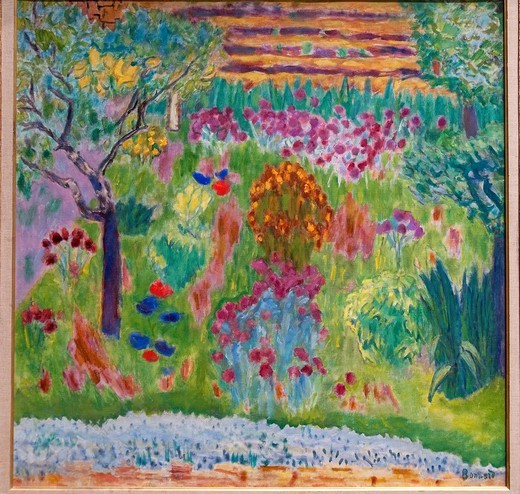 Garden, ca  1935, by Pierre Bonnard, French, Oil on canvas 35 1/2 x 35 5/8 in  90 2 x 90 5 cm, Metropolitan Museum of Art, New York City : Stock Photo