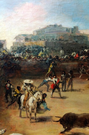 Detail: Bullfight in a Divided Ring, Attributed to Francisco de Goya y Lucientes, Spanish, 38 3/4 x 49 3/4 in 98 4 x 126 4 cm, Metropolitan Museum of Art, New York City : Stock Photo