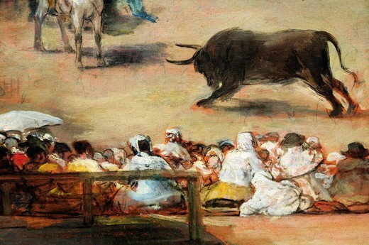 Stock Photo: 1566-772860 Detail: Bullfight in a Divided Ring, Attributed to Francisco de Goya y Lucientes, Spanish, 38 3/4 x 49 3/4 in 98 4 x 126 4 cm, Metropolitan Museum of Art, New York City