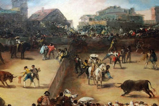 Stock Photo: 1566-772863 Detail: Bullfight in a Divided Ring, Attributed to Francisco de Goya y Lucientes, Spanish, 38 3/4 x 49 3/4 in 98 4 x 126 4 cm, Metropolitan Museum of Art, New York City