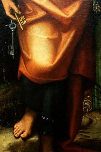 Stock Photo: 1566-772874 Detail: Saints Peter, Martha, Mary Magdalene, and Leonard, ca  1514–16, by Correggio Antonio Allegri, Italian, Parma, Oil on canvas, 87 1/4 x 63 3/4 in  221 6 x 161 9 cm, Metropolitan Museum of Art, New York City