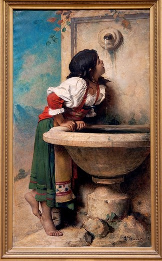 Roman Girl at a Fountain, 1875, by Léon Bonnat, French, Oil on canvas 67 x 39 1/2 in  170 2 x 100 3 cm, Metropolitan Museum of Art, New York City : Stock Photo