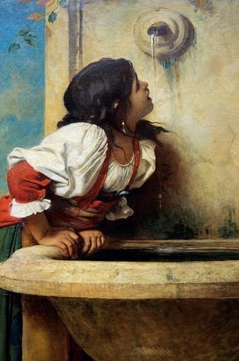 Stock Photo: 1566-772882 Detail, Roman Girl at a Fountain, 1875, by Léon Bonnat, French, Oil on canvas 67 x 39 1/2 in  170 2 x 100 3 cm, Metropolitan Museum of Art, New York City