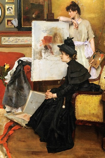 Stock Photo: 1566-772906 Detail: In the Studio, 1888, by Alfred Stevens, Belgian, Oil on canvas 42 x 53 1/2 in  106 7 x 135 9 cm, Metropolitan Museum of Art, New York City