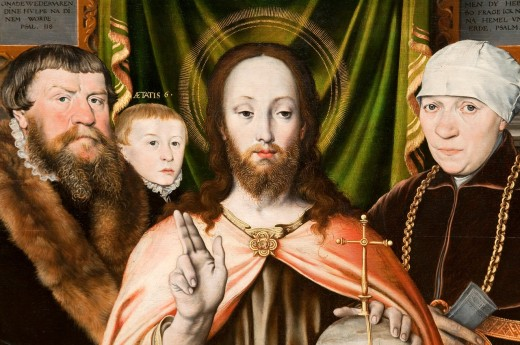 Detail: Christ Blessing, Surrounded by a Donor and His Family, Oil on wood, Attributed to Ludger tom Ring the Younger German, 1522–1584, Metropolitan Museum of Art, New York City : Stock Photo