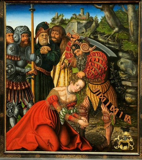 The Martyrdom of Saint Barbara, ca  1510, by Lucas Cranach the Elder, German, Kronach 1472–1553 Weimar, Oil on wood Overall 60 3/8 x 54 1/4 in  153 4 x 137 8 cm, painted surface 59 3/8 x 53 1/8 in  150 8 x 134 9 cm, Metropolitan Museum of Art, New York Ci. The Martyrdom of Saint Barbara, ca  1510, by Lucas Cranach the Elder, German, Kronach 1472–1553 Weimar, Oil on wood Overall 60 3/8 x 54 1/4 in  153 4 x 137 8 cm, painted surface 59 3/8 x 53 1/8 in  150 8 x 134 9 cm, Metropolitan Museum of Art, : Stock Photo