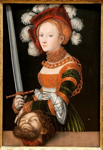 Stock Photo: 1566-772970 Judith with the Head of Holofernes, ca  1530, by Lucas Cranach the Elder, German, 1472–1553, Oil on wood, 35 1/4 x 24 3/8 in  89 5 x 61 9 cm, Metropolitan Museum of Art, New York City