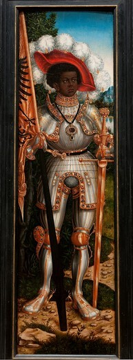 Stock Photo: 1566-772971 Saint Maurice, ca  1522–25, by Lucas Cranach the Elder, German, 1472–1553 and Workshop, Oil on wood, 54 x 15 1/2 in  137 2 x 39 4 cm, Metropolitan Museum of Art, New York City