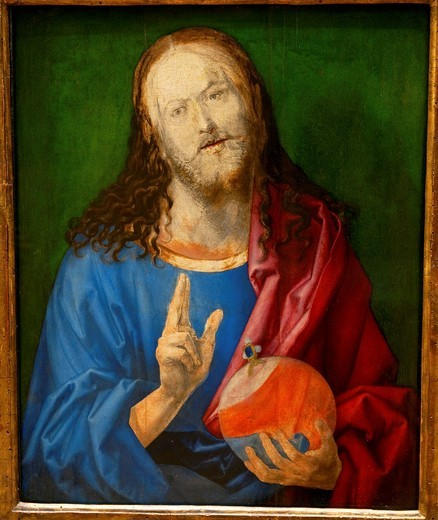 Stock Photo: 1566-772979 Salvator Mundi, by Albrecht Dürer, German, 1471–1528, Oil on wood, 22 7/8 x 18 1/2 in  58 1 x 47 cm, Metropolitan Museum of Art, New York City