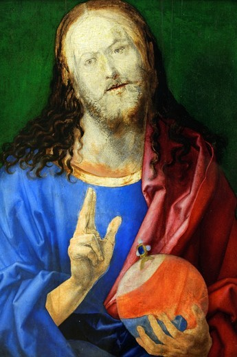 Detail: Salvator Mundi, by Albrecht Dürer, German, 1471–1528, Oil on wood, 22 7/8 x 18 1/2 in  58 1 x 47 cm, Metropolitan Museum of Art, New York City : Stock Photo