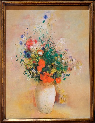 Vase of Flowers, Pink Background, ca  1906, by Odilon Redon, French, Oil on canvas 28 5/8 x 21 1/4 in  72 7 x 54 cm, Metropolitan Museum of Art, New York City : Stock Photo