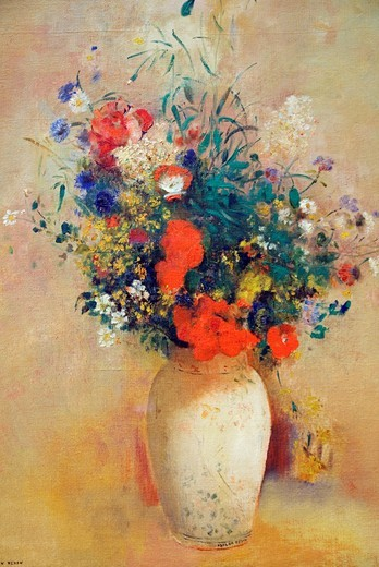 Detail: Vase of Flowers, Pink Background, ca  1906, by Odilon Redon, French, Oil on canvas 28 5/8 x 21 1/4 in  72 7 x 54 cm, Metropolitan Museum of Art, New York City : Stock Photo