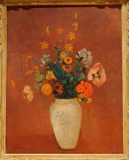 Stock Photo: 1566-773040 Bouquet in a Chinese Vase, possibly 1912–14, Odilon Redon, French, Oil on canvas 25 1/2 x 19 5/8 in  64 8 x 49 8 cm, Metropolitan Museum of Art, New York City