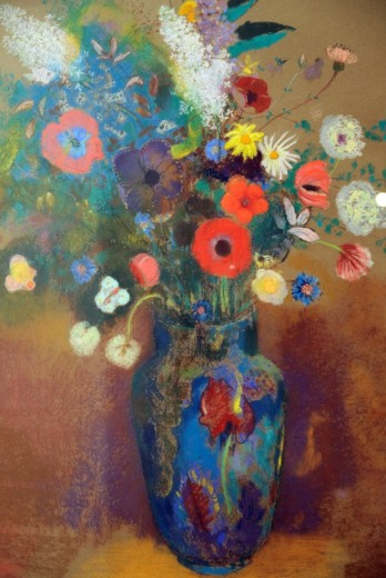 Stock Photo: 1566-773043 Detail: Bouquet of Flowers, probably ca  1905, by Odilon Redon, French, Pastel on paper 31 5/8 x 25 1/4 in , 80 3 x 64 1 cm, Metropolitan Museum of Art, New York City
