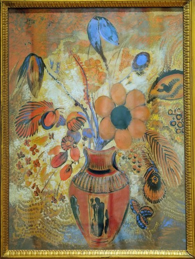 Stock Photo: 1566-773044 Etruscan Vase with Flowers, 1900–10, by Odilon Redon, French, Tempera on canvas 32 x 23 1/4 in , 81 3 x 59 1 cm, Metropolitan Museum of Art, New York City,