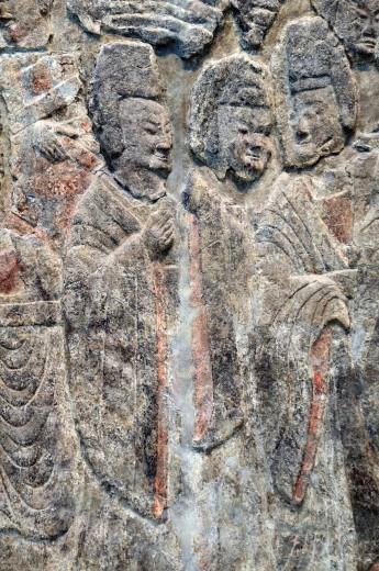 Detail: Emperor Xiaowen and His Court, ca  522–23, Northern Wei dynasty, 386–534, Limestone with traces of pigment H  82 in  208 3 cm, W  12 ft  11 in  393 7 cm, Metropolitan Museum of Art, New York City : Stock Photo