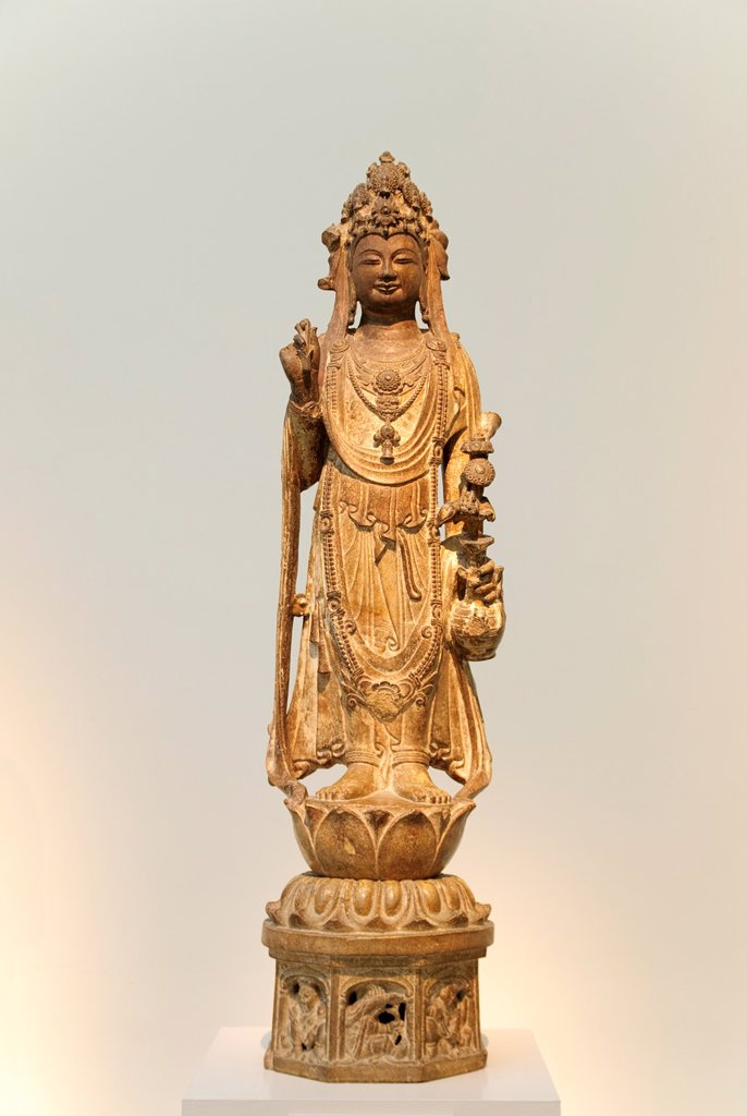 Stock Photo: 1566-773076 Bodhisattva Avalokiteshvara, Guanyin, style of late 6th–early 7th century, Sui dynasty 581–618, Limestone with traces of pigment H  39 2/3 in  100 8 cm, Metropolitan Museum of Art, New York City