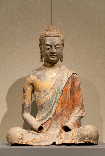 Buddha, probably Amitabha, Amituo, early 7th century, Tang dynasty 618–907, Hollow dry lacquer with pigment and gilding H  38 in  96 5 cm, W  27 in  68 6 cm, D  22 1/2 in  57 1 cm, Metropolitan Museum of Art, New York City : Stock Photo