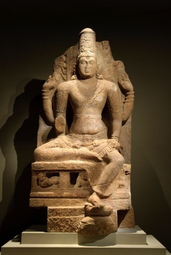 Seated four-armed Vishnu, Pandya dynasty, –1350, second half of 8th–early 9th century, Tamil Nadu, India, Granite, H  9 ft  9 in  298 2 cm, Metropolitan Museum of Art, New York City : Stock Photo